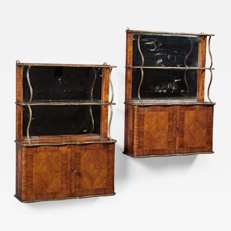 A Rare Pair of18th Century Louis XVI Hanging Shelves in Rosewood and Tulipwood