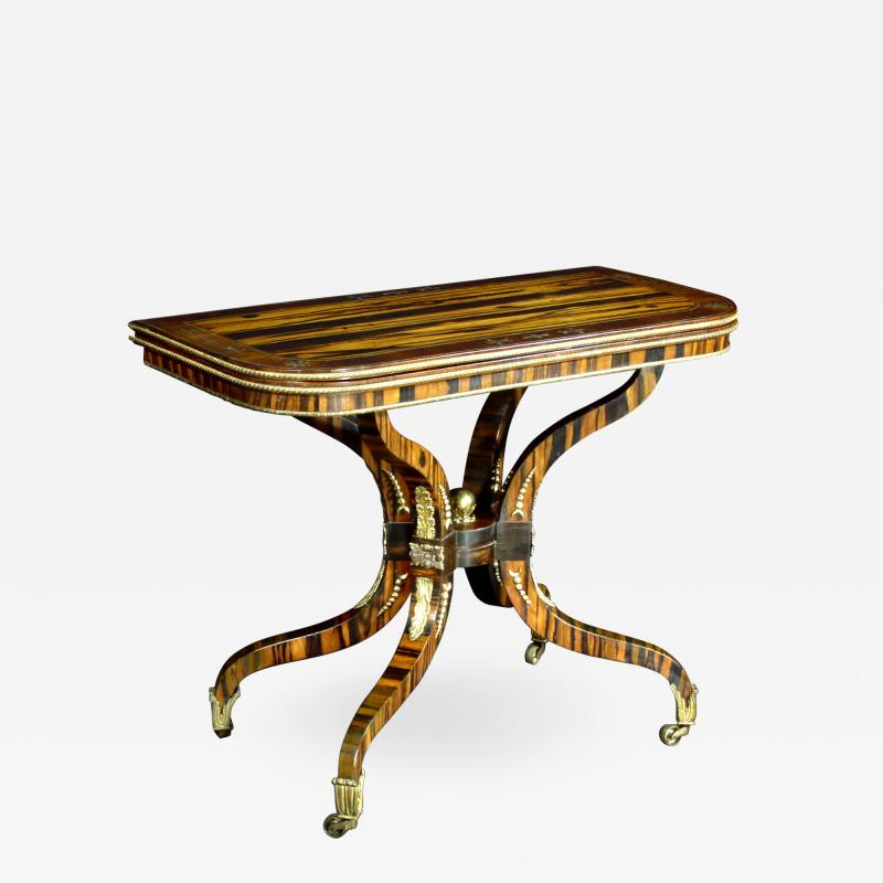 A Regency Calamander Wood Console Games Table