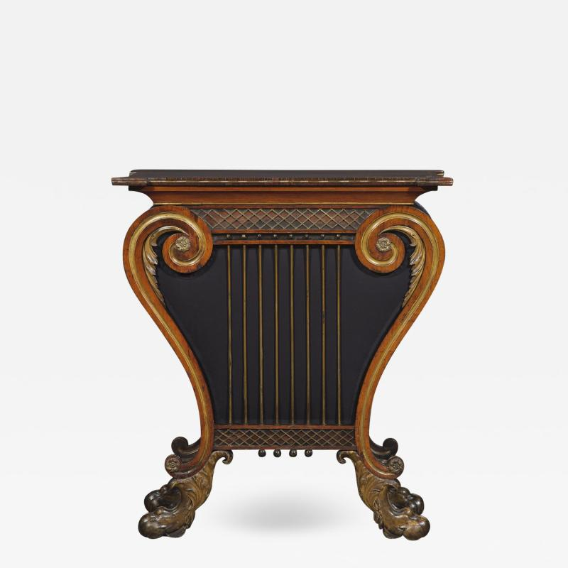A Regency Lyre Form Rosewood And Giltwood Console Table
