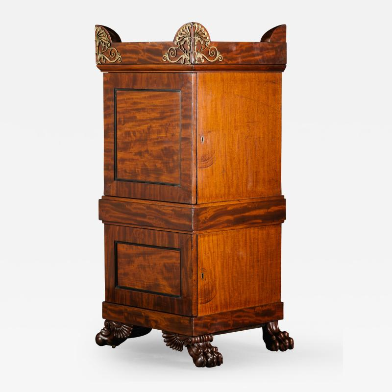 A Regency Mahogany Dining Room Pedestal Cabinet in the Manner of Thomas Hope