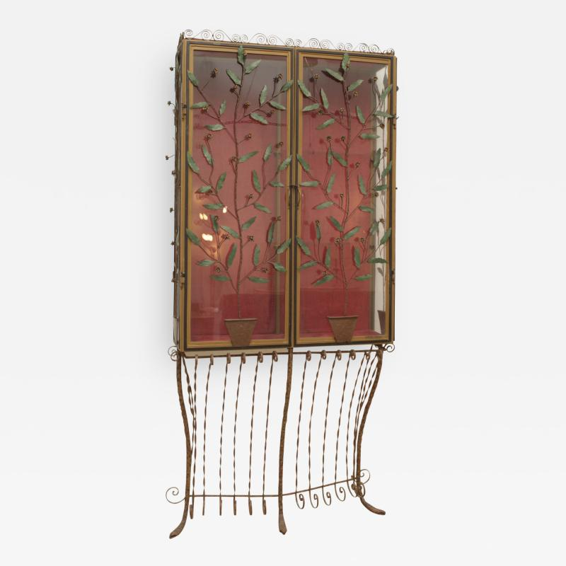 A Scotto A Scotto Signed Showcase With Floral Metal Decoration