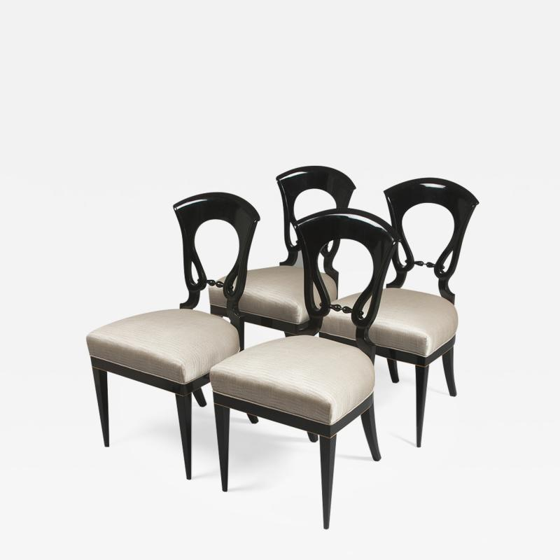 A Set of Four Exceptional Biedermeier Side Chairs