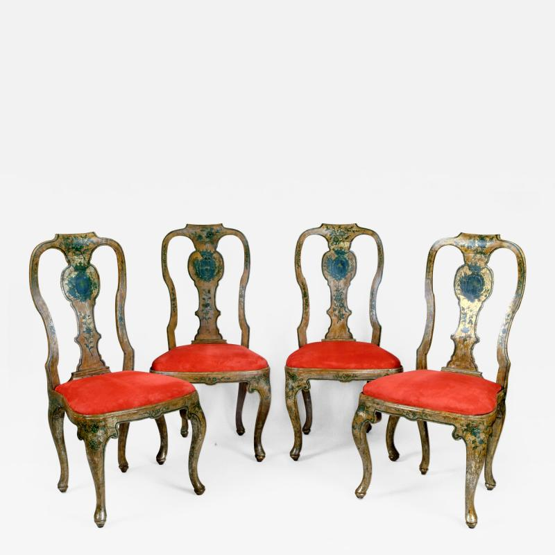 A Set of Four Lacquered Chairs with Noble Coat of Arms