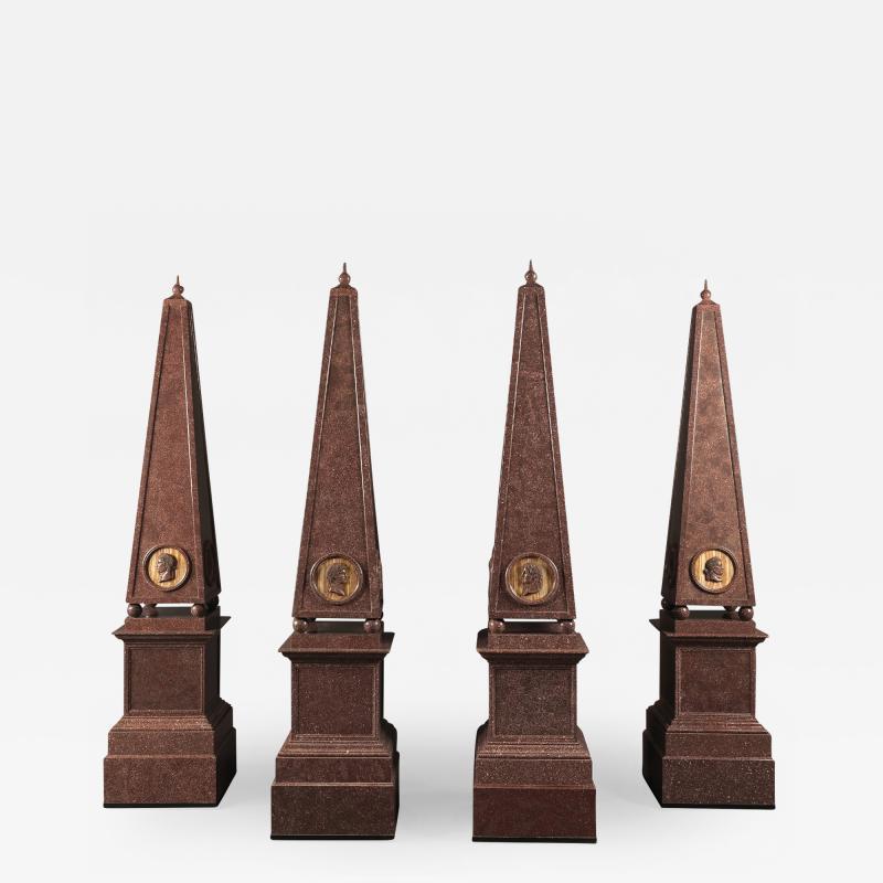 A Set of Four Large Porphyry Obelisks