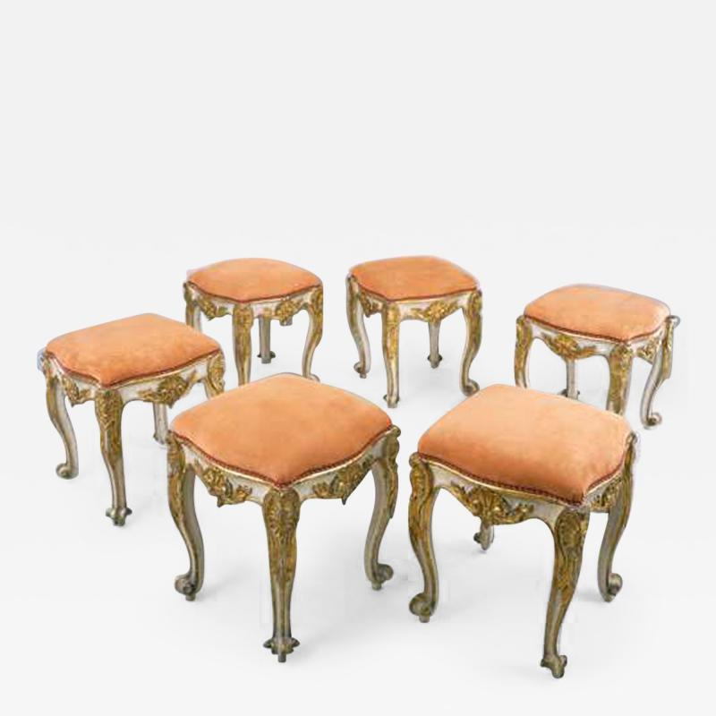 A Set of Six Carved Wood Tabourets with Original Paint and Gilding