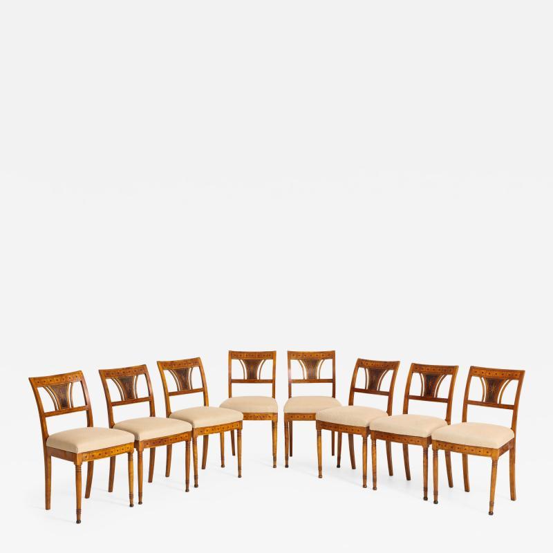A Set of Six Danish Empire Inlaid Birchwood Sidechairs Circa 1810 1820