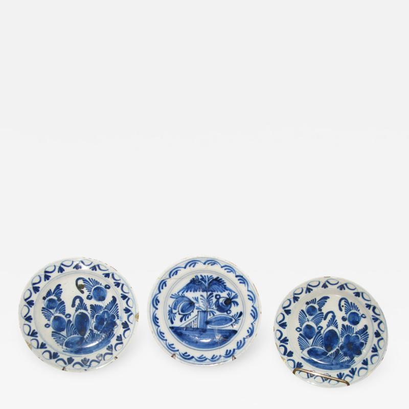A Set of Three Ceramic Delft Blue and White Floral Decorated Dishes