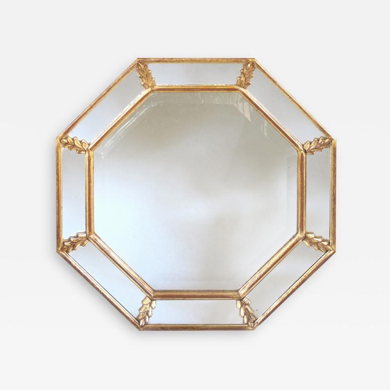 A Shimmering French Gilt Wood Octagonal Mirror with Foliate Elements