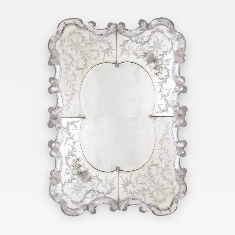A Stunning and Shapely Venetian Rectangular Form Etched Mirror