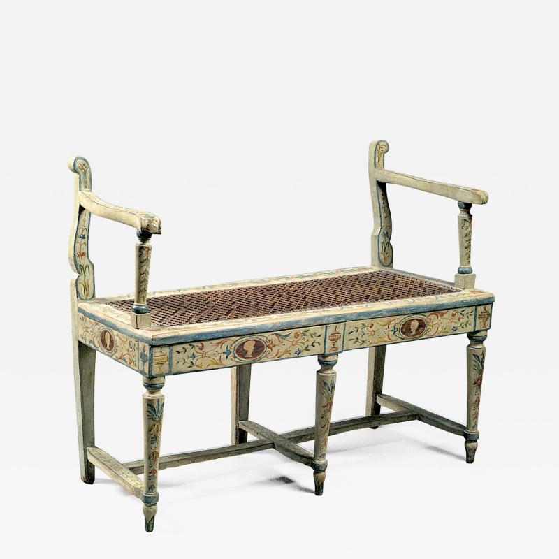 A Two Seated Painted Italian Neoclassical Bench