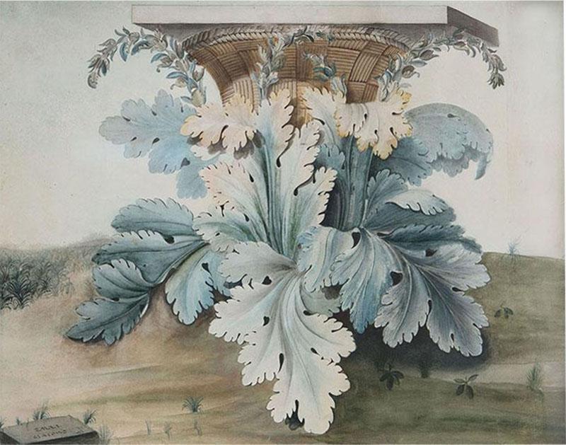 A Watercolor Of The Origin Of The Corinthian Column After Giacondo Albertolli