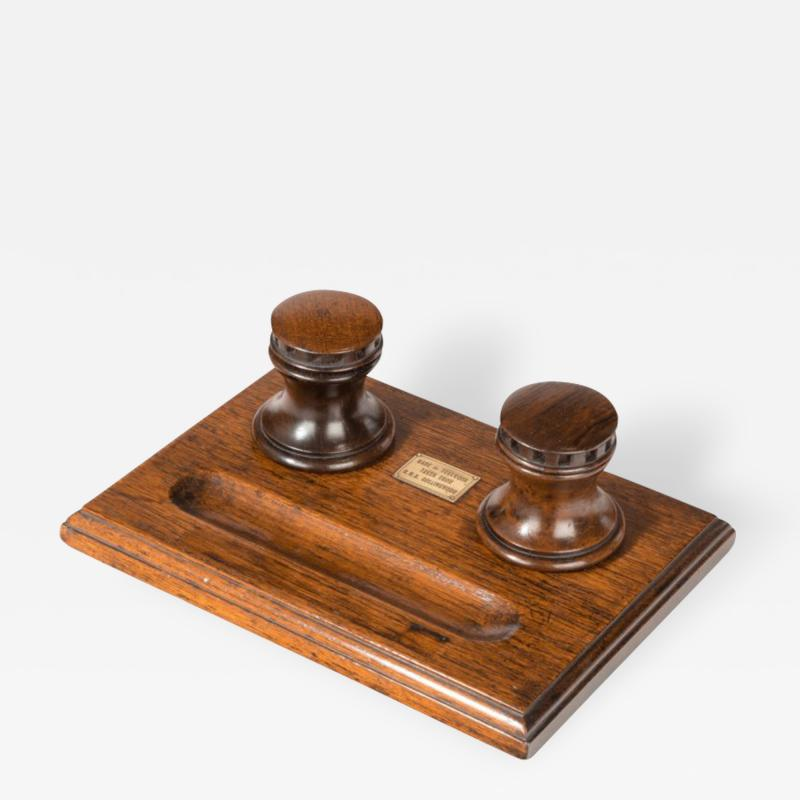 A desk set made of timber from HMS Collingwood England c 1890