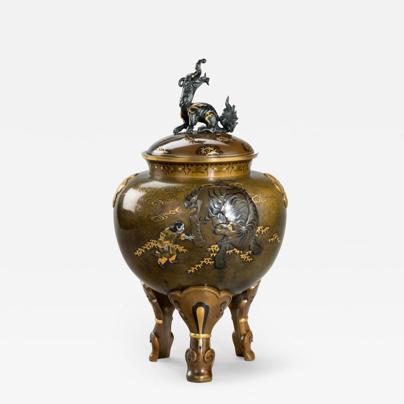 A large and very fine bronze tripod Koro attributed to the Kanazawa Doki Company