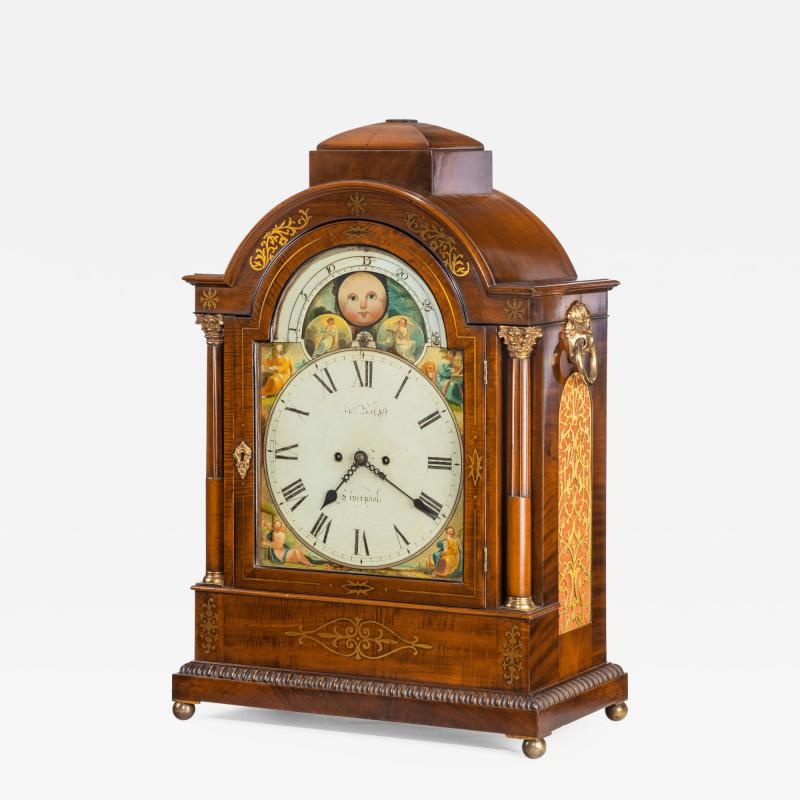 A large late Regency mahogany brass inlaid bracket clock by John Foster