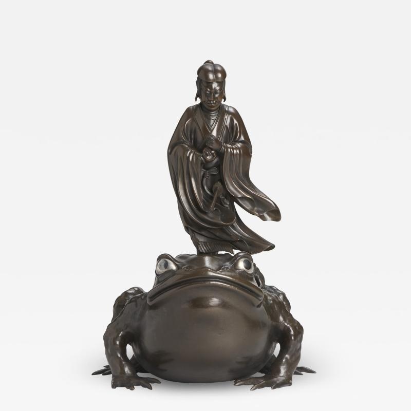 A magnificent Bronze Okimono of Jiraiya standing atop a toad