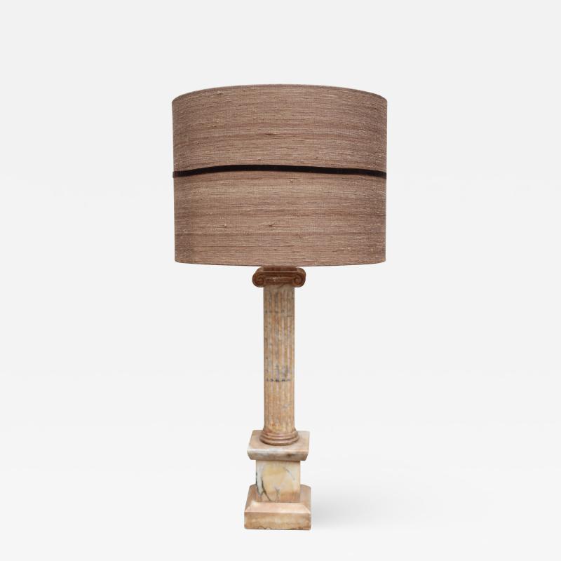A marble column table lamp Italy XIXth century