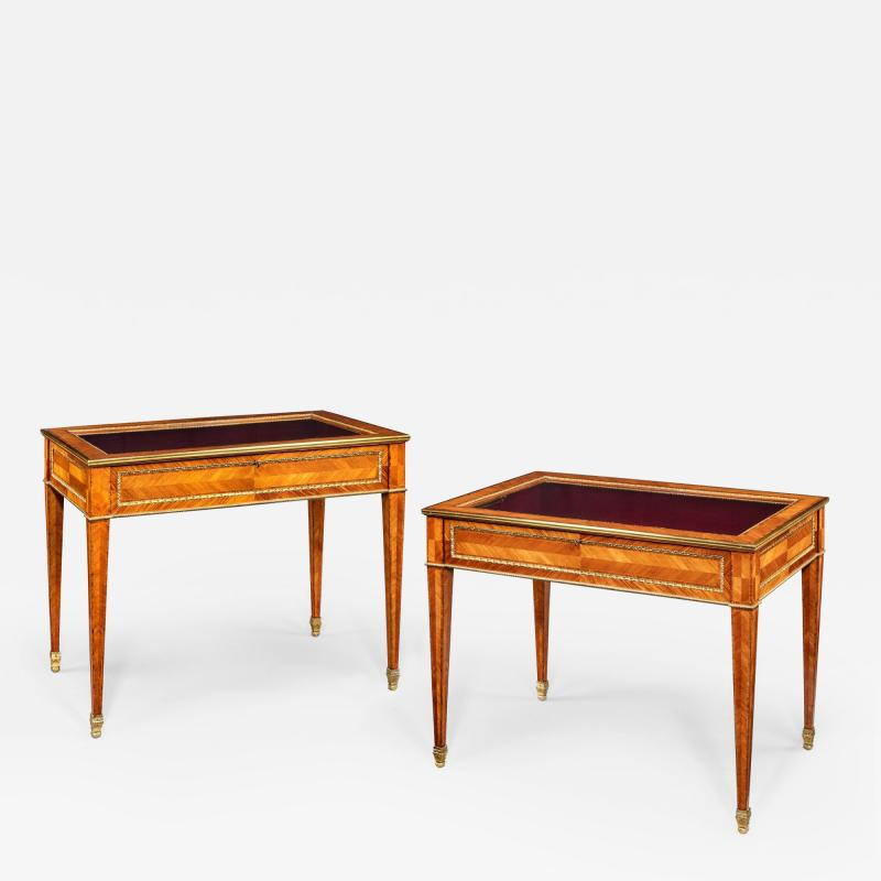 A matched pair of English Kingwood display tables in the French taste