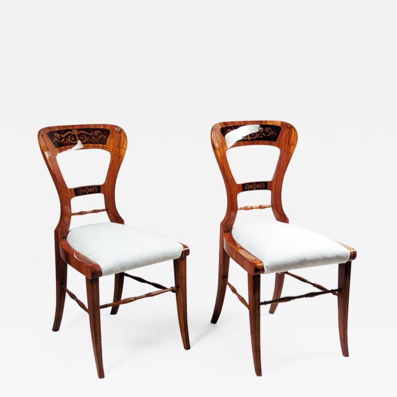 A pair of Biedermeier side chairs