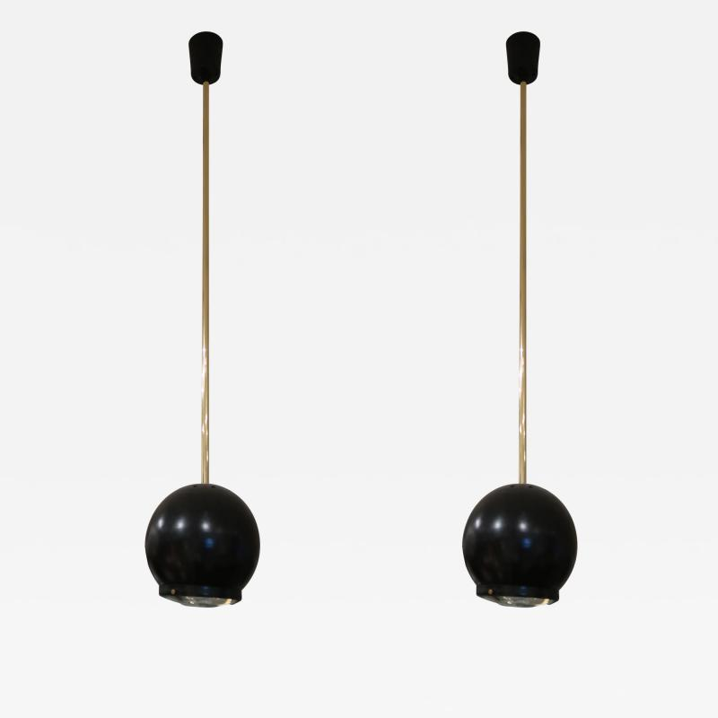 A pair of Brass and Black Metal Ceiling lamps Italy 70
