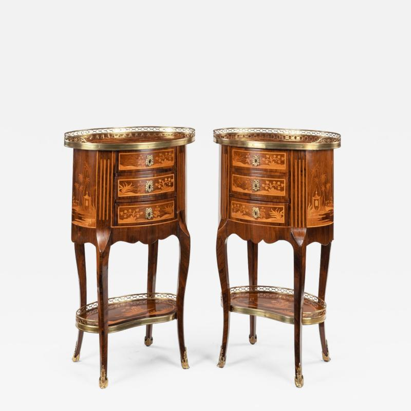A pair of French rosewood occasional tables