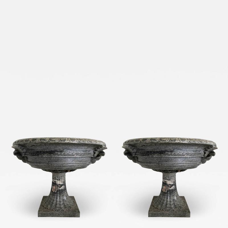 A pair of Monumental Italian Neoclassic Grand Tour Marmo Grigio Taza