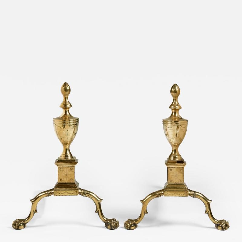 A pair of Philadelphia engraved Federal andirons