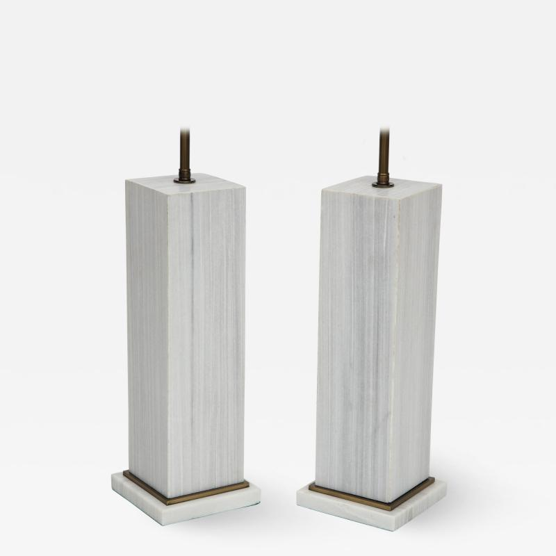 A pair of column shaped lamps Silk Georgette marble