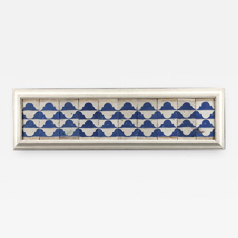 A set of ten Cuenca blue and white tiles with a Renaissance pattern