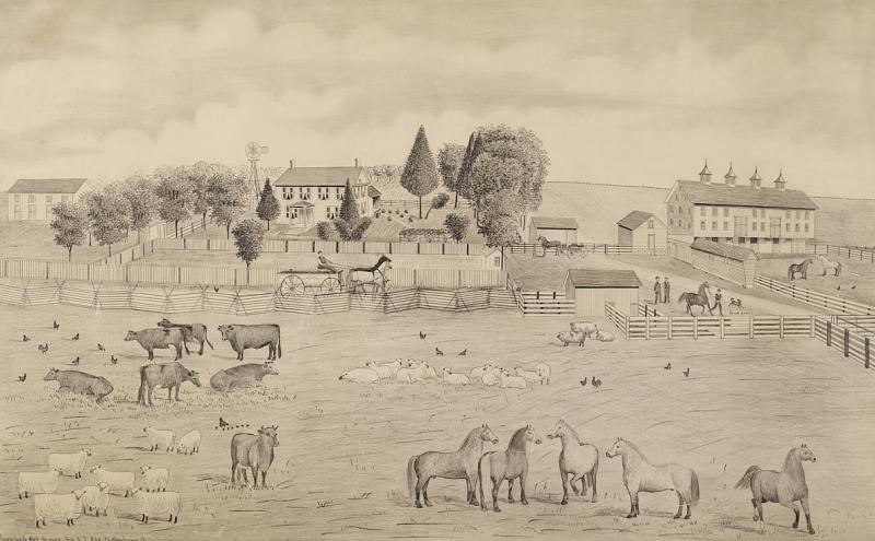 A signed Portrait of a Doylestown Ohio Farm by Edward Lewis Ott