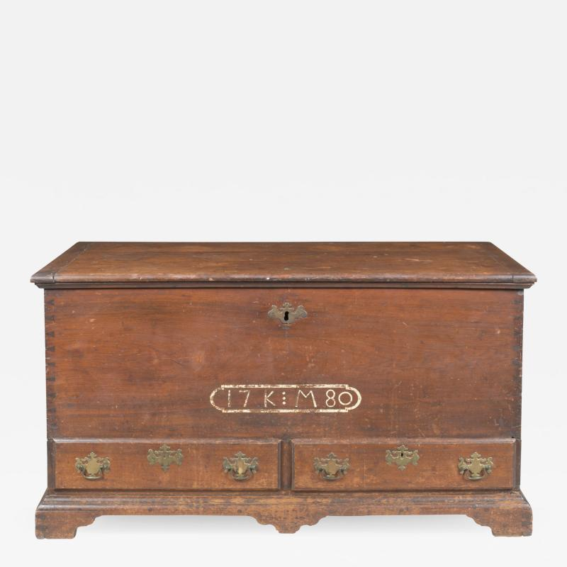 A sulfur inlaid Pennsylvania German chest over drawers