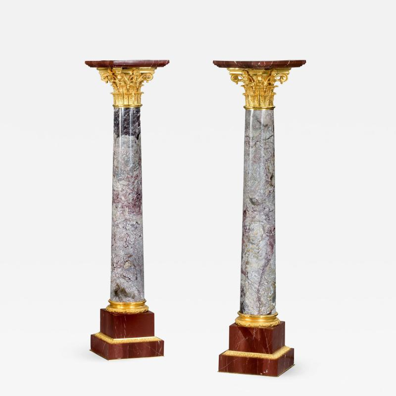 A very fine pair of antique Napoleon III marble classical columns