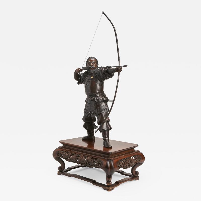 A very large powerful Japanese Meiji Period bronze okimono of Emperor Jimmu