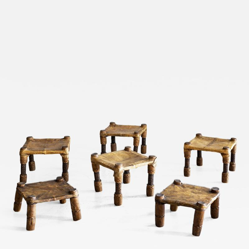 AFRICAN LEATHER STOOLS