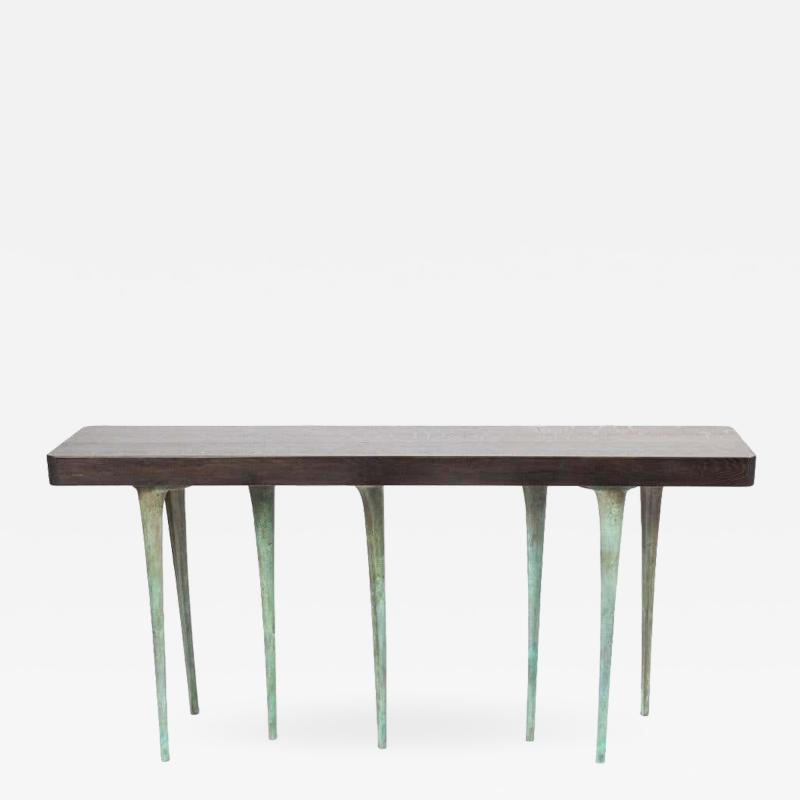 AKMD Collection Customizable Thicket Wood and Cast Aluminium Console Table