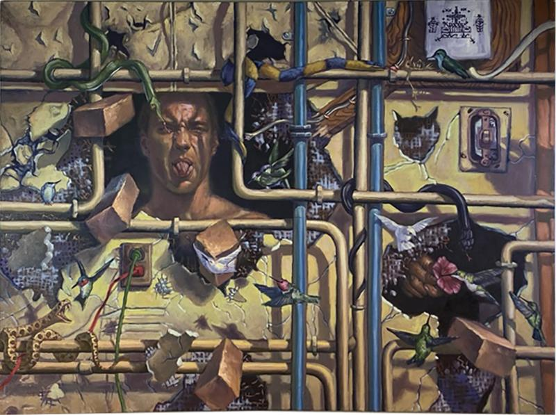 AMAZING SURREALIST MAN BEHIND WALL WITH SNAKES HUMMINGBIRDS PAINTING