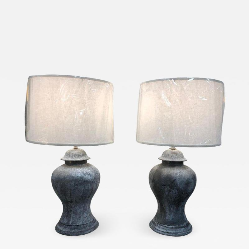 ANTIQUE ENGLISH METAL URN LAMPS A PAIR