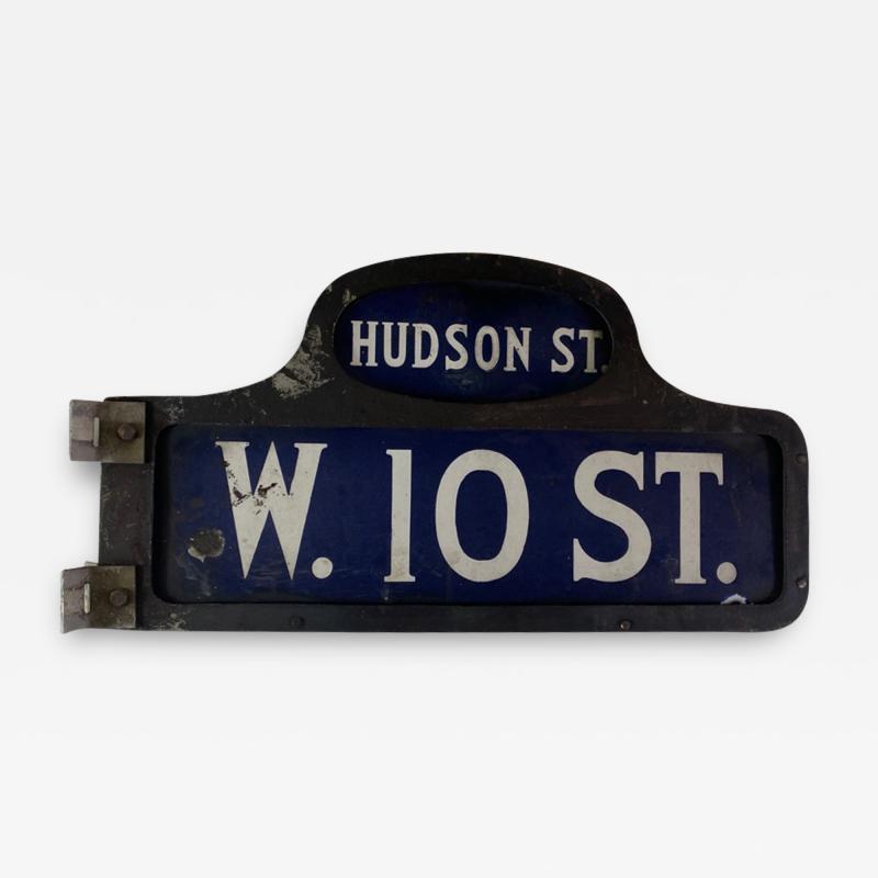 ANTIQUE NYC HUDSON STREET WEST 10TH STREET ENAMEL SIGN