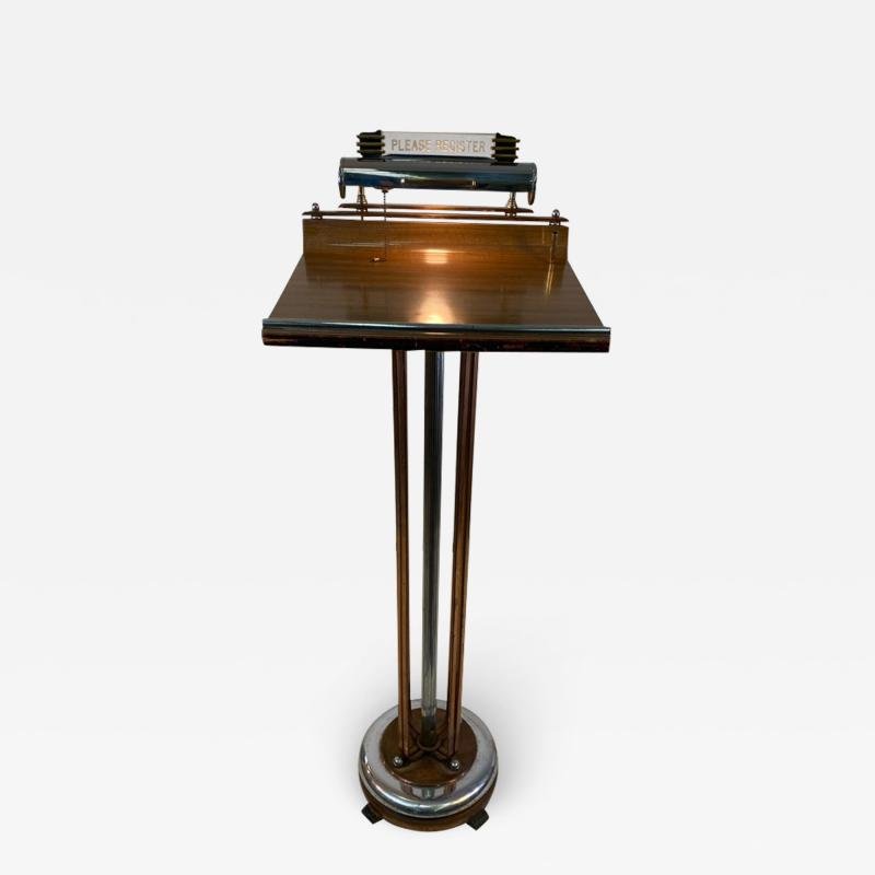 ART DECO COPPER AND CHROME ILLUMINATED RESERVATION STAND