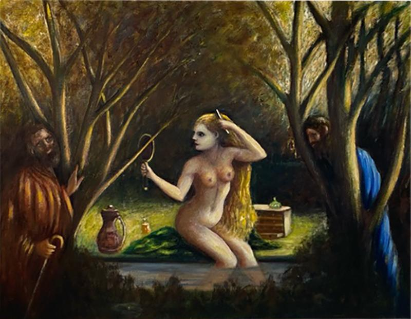 ATMOSPHERIC NUDE BATHING IN FOREST WITH WATCHERS PAINTING