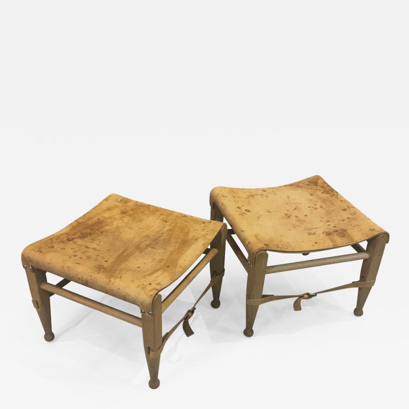 Aage Bruun S n 1960s Cognac Leather Oak Safari Stools