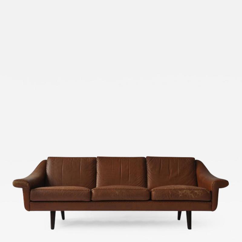 Aage Christensen Aage Christiansen Danish Leather Sofa 1960s