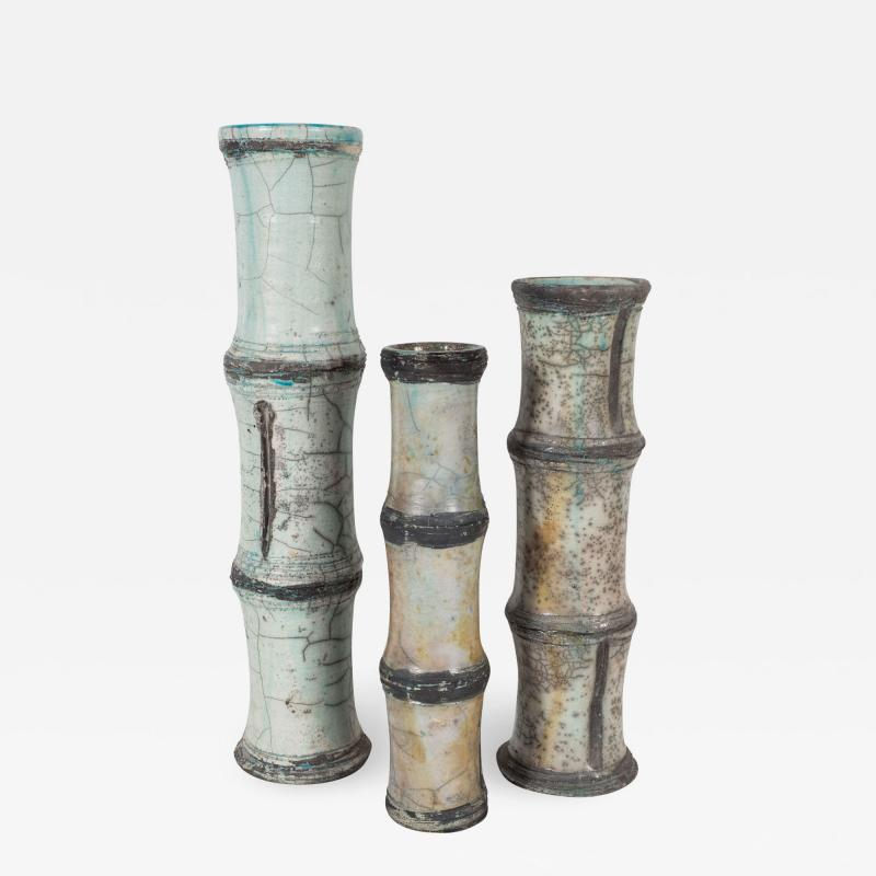 Abe Kiraku Three Raku Ceramic vases