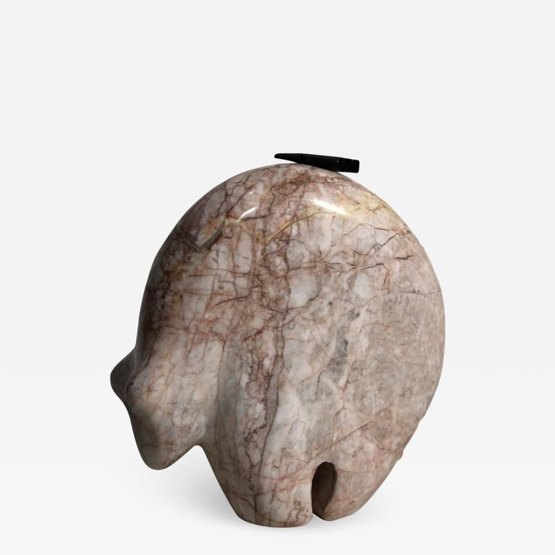 Abstract Pink Marble Bear Figure