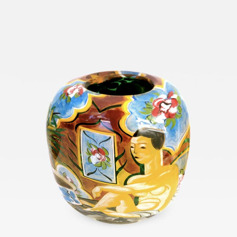 Ada Loumani Matisse Style Art Glass Vase