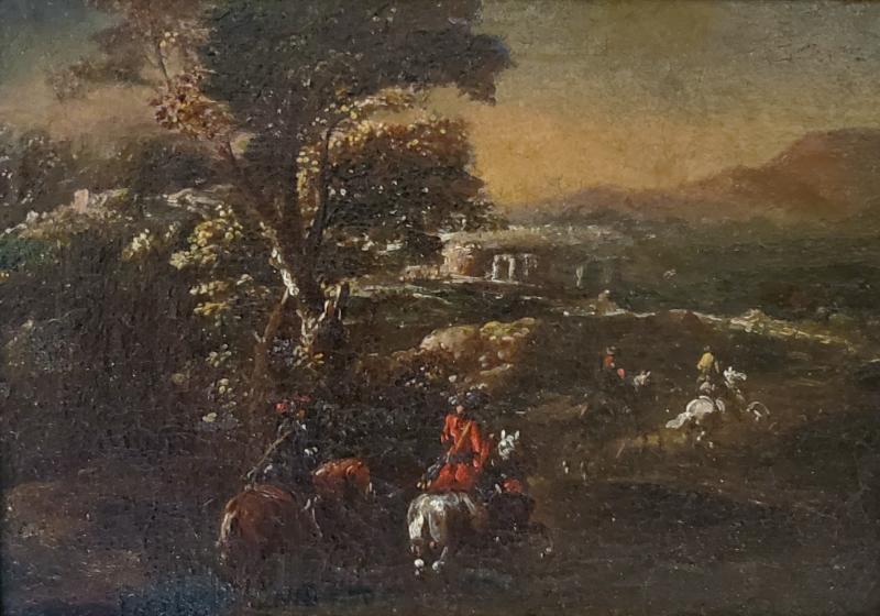 Adam Frans van der Meulen AFTER Horseback Riding an Oil Painting After Adam Frans Van Der Meulen