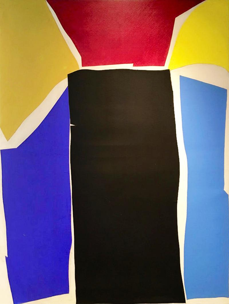 Adja Yunkers Adja Yunkers Colorful Collage on Canvas Painting Untitled 1