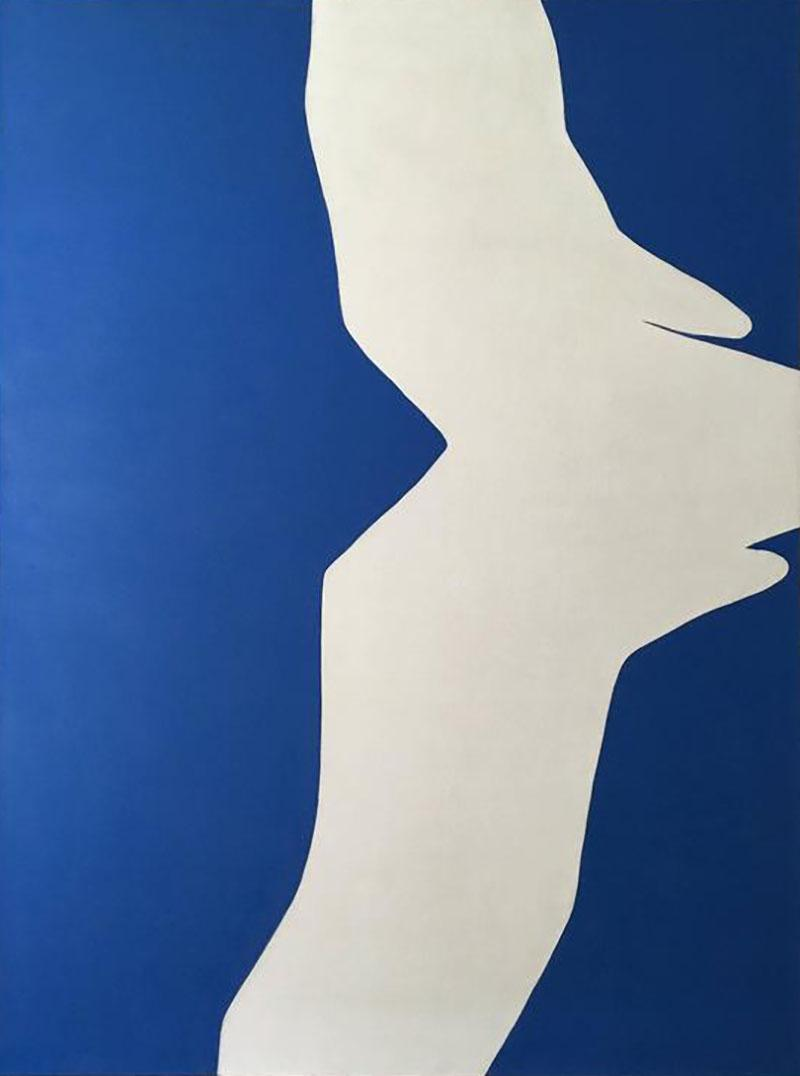Adja Yunkers Blue on White IV Acrylic Collage by Adja Yunkers 1969