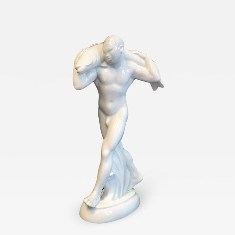 Adolf Amberg Nude with Fish by Adolf Amberg 1874 1913 German porcelain 1905