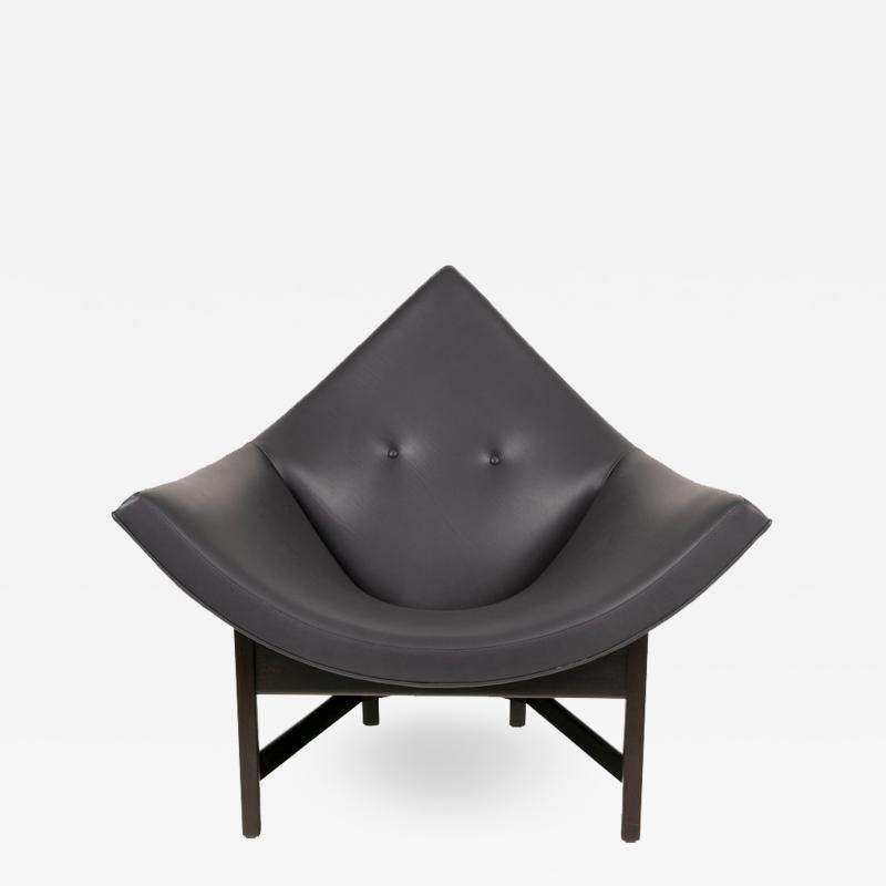 Adrian Pearsall Adrian Pearsall Black Leather Coconut Chair USA 1960s