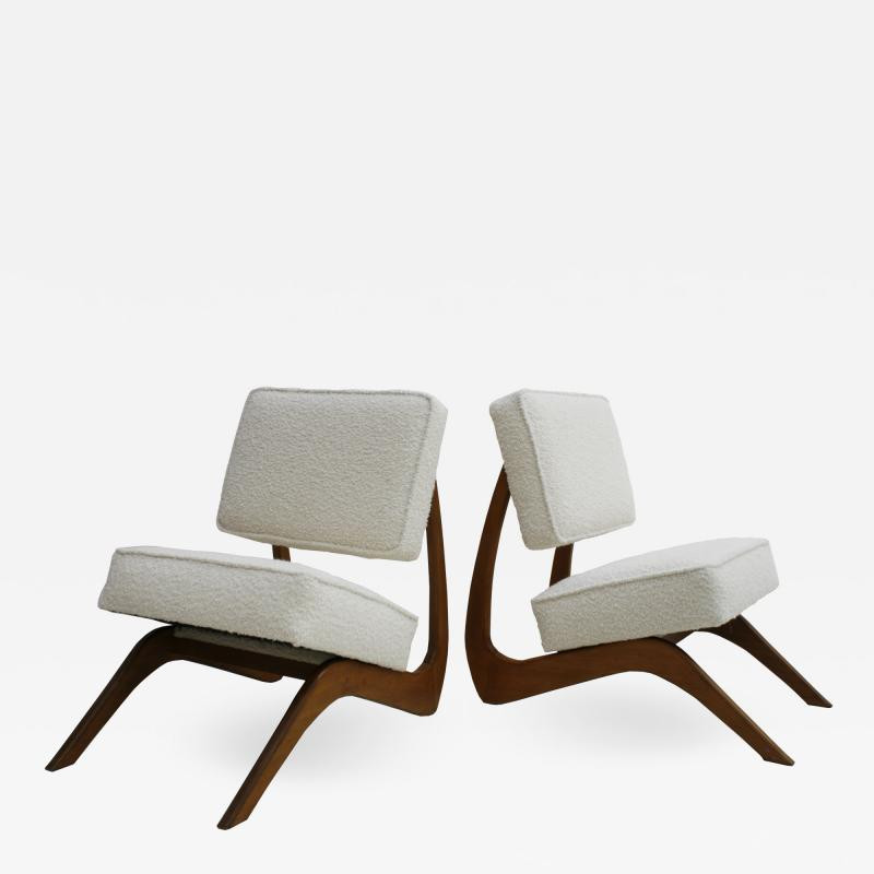 Adrian Pearsall Adrian Pearsall Mid Century Modern Walnut Pair of American Lounge Chairs